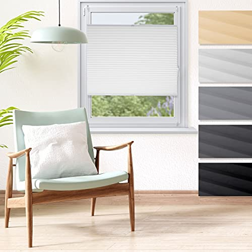ECD Germany Store Plissé Fenêtre 45 x 150 cm - Blanc - Klemmfix - sans Perçage - avec Matériel de Fixation - Tissu Plissé Crêpé Opaque - Rails Réglables - Store Vénitien - Rideau Facile à Fixer