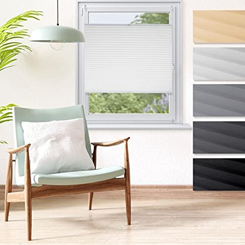 ECD Germany Plissee 80 x 100 cm - Weiß - Klemmfix - EasyFix - ohne Bohren - Sonnen- und Sichtschutz - für Fenster und Tür - inkl. Befestigungsmaterial - Jalousie Faltrollo Fensterrollo Rollo
