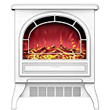 Daily Accessories Electric Stove Fireplace Heater Portable Free Standing Electric Fireplace Insert Stove Heater with Realistic Log Flame Effect White Black