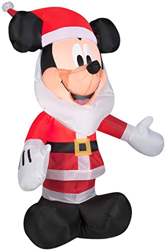 Gemmy gonfiabili 3.5 'Mickey Mouse con Babbo Natale barba Disney Holiday Decor (US) As Shown Taglia unica