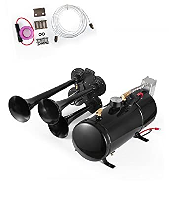 SHZOND Train Horn Kit 4 Trumpet Super Loud Air Horn Compressor Kit With 150 PSI Compressor and 0.8 Gallon Air Tank for Truck Boat or SUV