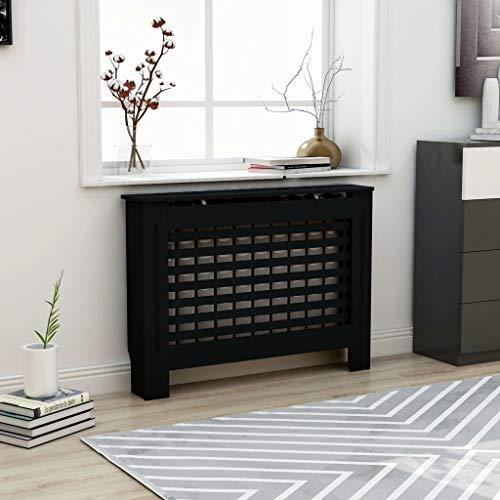 UnfadeMemory Cubierta de Radiador,Mueble para Radiador,Cubierta de Calefacción,MDF (Negro,Diseño Horizontal, 112x19x81cm)