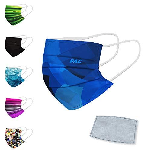 P.A.C. FFP.2 Premium Community-Maske + 5er Pack Aktivkohlefilter, Mund- & Nasenmaske, Alltagsmaske, mit Aktivkohlefilter, Waschbar bis 90°, Nasenbügel und Filtertasche, Wiederverwendbar
