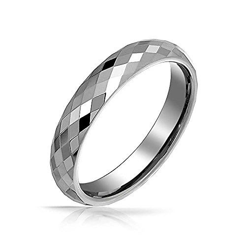 Bling Jewelry Coppie Multi Sfaccettato Prisma Cut Fede Nuziale Tungsteno per Uomini per Donne Tono Dell'Argento Comfort in Forma 4MM