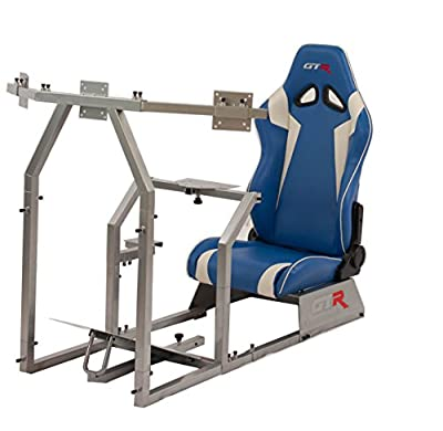 GTR Simulator GTAF-S-S105LBLWHT - GTA-F Model (Silver) Triple or Single Monitor Stand with Blue/White Adjustable Leatherette Seat, Racing Simulator Cockpit Gaming Chair Single Monitor Stand