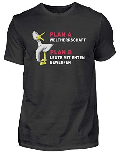 Plan A - El dominio mundial Plan B - Llamar personas con patos Camiseta divertida para hombre Negro XL