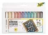 folia 371209 - Kreidestifte Set Basic, 12 Kreidemarker sortiert in 12 verschiedenen Farben, zum...