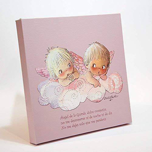 """Angelitos nube rosa y oración""""Angel de la guarda..."""" 30x30cm. Ilustración de Juan Ferrándiz impresa en lienzo. Serie limitada y numerada. Regalo recién nacido y Bautizo"""