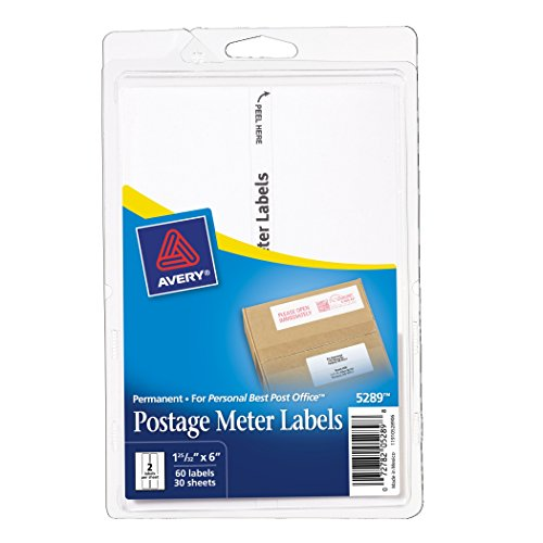 Avery Postage Meter Labels, Personal Post Office e700, 1.187 x 6 Inches, White, 60 per Pack  (5289)