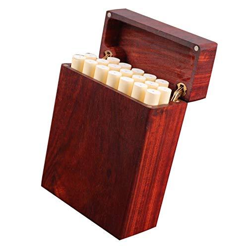 HOUSEHOLD Estuche de Cigarrillos con Tapa Magnética de Palisandro, Bolsillo con Caja de Cigarrillos Ahuecada de Madera Entera, Porta Cigarrillos Hecho a Mano Creativo