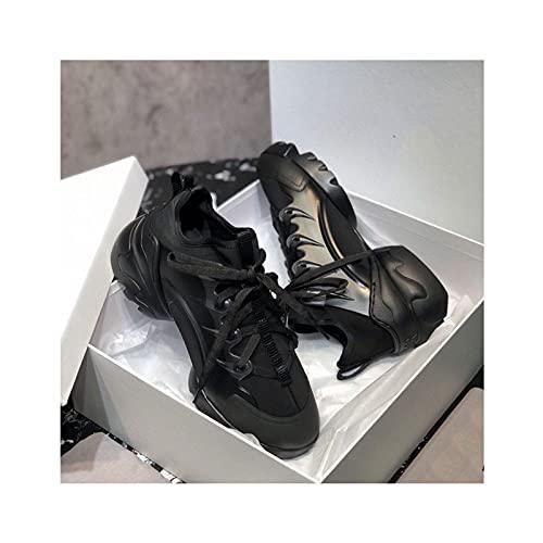 HaoLin Zapatillas Deportivas para Mujer, Zapatillas Ligeras y Transpirables para Caminar, Gimnasio, Correr, Fitness, Atlético, Informal,Black-36 EU