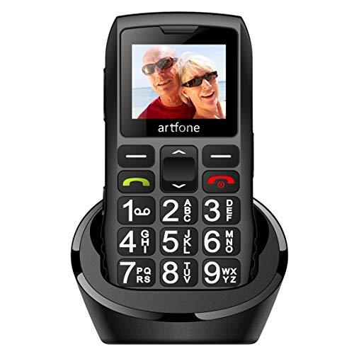artfone C1+ Seniorenhandy ohne Vertrag | Dual SIM Handy mit Notruftaste | Rentner Handy große Tasten | 1400 mAh Akku Lange Standby-Zeit | Großtastenhandy mit Ladestation | 1,77 Zoll Farbdisplay