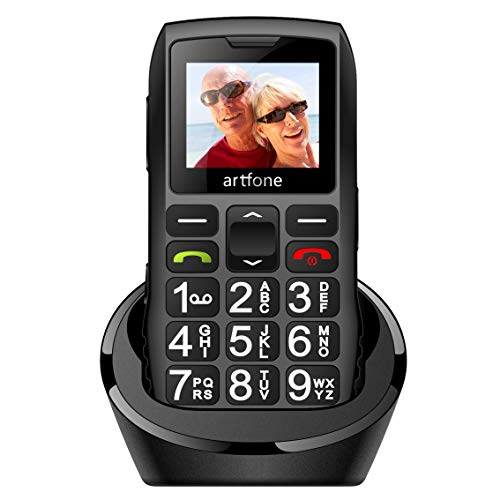 artfone Telefono Cellulare per Anziani con Tasti Grandi, 2G GSM Telefono per Anziani Pulsante SOS e Sblocco Laterale Base di Ricarica Torcia Elettrica Facile da Usare per Gli Anziani artfone C1 Nero