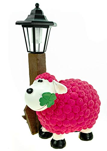Kremers Schatzkiste Schaf Molly mit LED Solarlaterne 36 cm pink Figur Skulptur Tier Bauernhof Solar Laterne