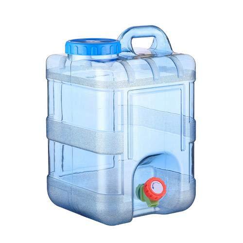 Bidón de agua con grifo, 15 L/20 L, camping, con mango, depósito de agua portátil con tapa, pivotes, de plástico, para el coche, para exterior, hogar, viaje, emergencia, caravanas, senderismo