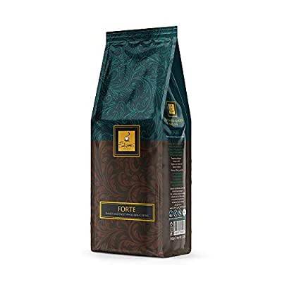 Whole Coffee Bean Italian Espresso Medium Dark Roast - FORTE by Filicori Zecchini. Arabica and Robusta Blend. Roasted then blended. Made in Italy since 1919 - 2.2Lb (1kg) Bag