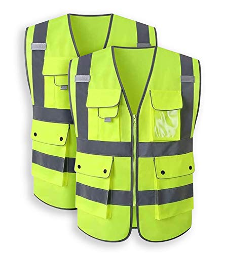 Tekware 2 Pack Safety Vest with Pockets, Yellow High Visibility Vest with Reflective Silver Strip, Zipper Construction Vest for Night Running, Jogging, Cycling Walking (XXL)