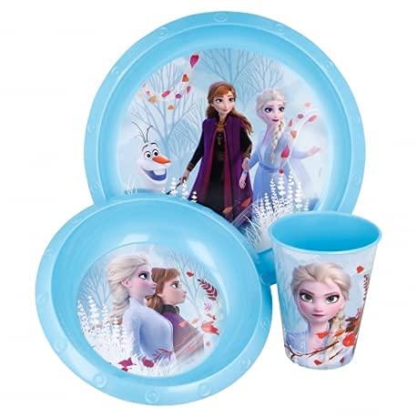 Set Stoviglie Servizio da Tavola per Bambini 3 Pezzi con Piatto, Ciotola e Bicchiere Easy 260 ml in confezione regalo (Disney Frozen 2)