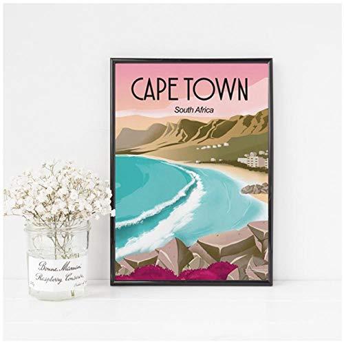 Mulmf Kaapstad Zuid-Afrika Reizen Poster Prints Strand Landschap Kunst Canvas Schilderen Muur Foto Home Decor Reiziger Cadeau-50X70Cm Unframed