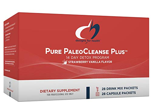Designs for Health Pure PaleoCleanse Plus 14 Day Detox Program - Beef Protein, Amino-D-Tox + Detox Antioxidant Powder Packets for Immune Support, Strawberry Vanilla (28 Drink Mixes + 28 Capsule Packs)