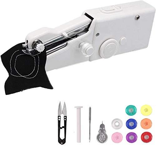 Máquina de coser de mano con bobinas adicionales, MSDADA portátil, máquina de coser inalámbrica con bobina adicional, aguja para cortinas, tela, tela para niños, manualidades y viajes en casa