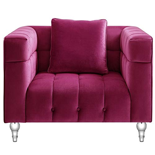 Adalyn Club Chair Fuchsia Pink Velvet Biscuit Tufted Lucite Leg