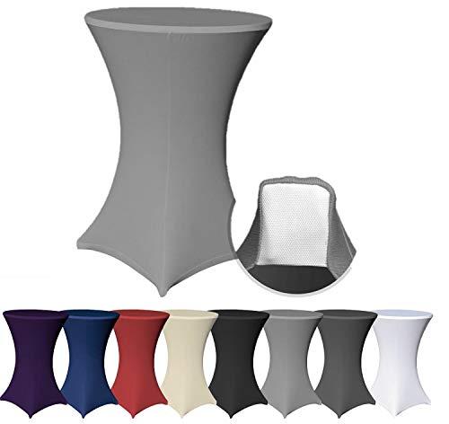 EXKLUSIV HEIMTEXTIL Stehtischhusse Stretch für Bistrotisch mit 4 Fußlaschen elastisch Ø 80x120 cm Anthrazit
