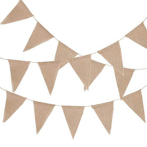 Enjoygoeu 3er Set Wimpelkette Jute Hochzeit 10M 48 Wimpel Vintage Bunting Banner Girlande Rustikal für Draußen & Zimmerdeko