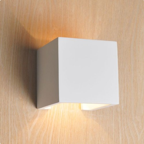 Isolicht Gips Wandleuchte, Gipslampe mit G9 Stiftsockellampe, Wandlampe quadratisch, Innenbeleuchtung, streichbar, Würfelleuchte, modernes Design, Wand Licht