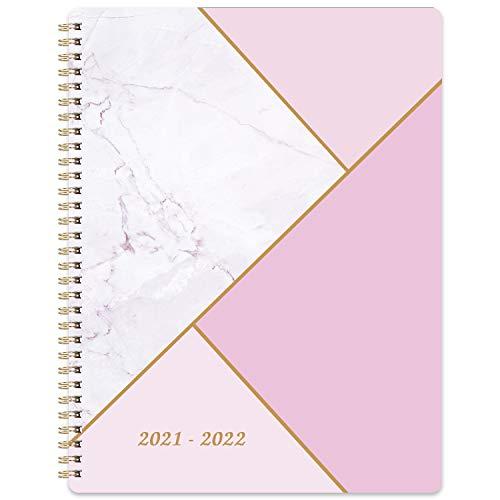 Agenda 2021 2022 - Agenda de la Semana Para ver, 20,3 x 25,4 cm, con Papel Grueso + Contactos + Calendario, Julio de 2021 - Junio de 2022, Encuadernación de Doble Alambre - Mármol Rosa