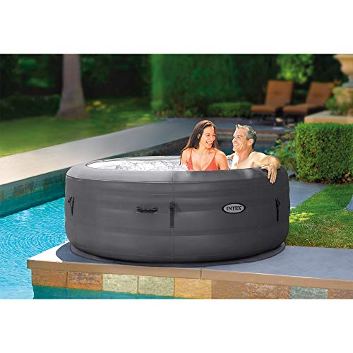 Intex 28481E Simple Spa 77in x 26in 4-Person Outdoor Portable Inflatable Round Heated Hot Tub Spa with 100 Bubble Jets, Filter Pump, and Cover, Gray