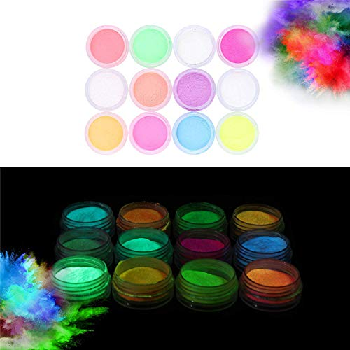 Glow in the Dark Powder (Pack of 12) Luminous Pigment Powder Fluorescent UV Neon Color Changing luminescent Phosphorescent Thermochromic Dye Dust Glo for Slime Nails Resin Acrylic Paint Ink Non-Toxic