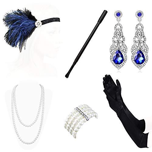 Lukovee 1920er Jahre Zubehör Set Flapper Stirnband, Halskette, Handschuhe, Ohrringe Perlen Halskette Handschuhe Zigarettenspitze Great Gatsby Zubehör für Frauen