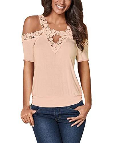 CNFIO damskie topy z zimnymi ramionami bluzka z długim rękawem na co dzień lato gładkie szydełkowane koronkowe koszule