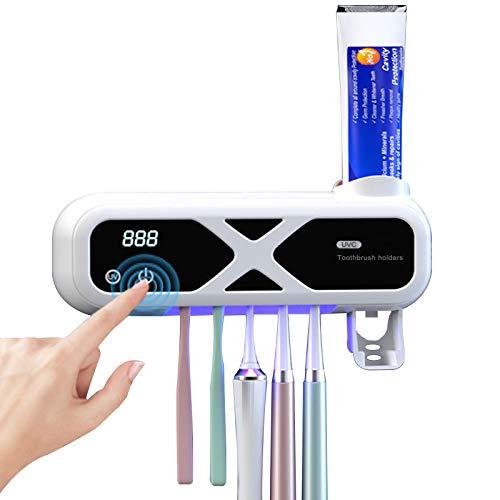 Portacepillos de Dientes Esterilizador, Dispensador de Pasta de Dientes Electrico Montado en La Pared, Carga USB 1200ma, Interruptor TáCtil, FuncióN de SincronizacióN para BañO Familiar