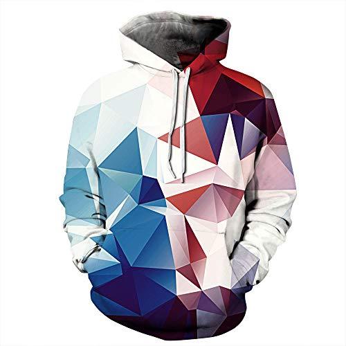 yyqx container Unisex Hoodie 3D Print Kordelzug Pullover Große Tasche Kontrast Geometrisches Dreieck 3D Hoodie, 5XL