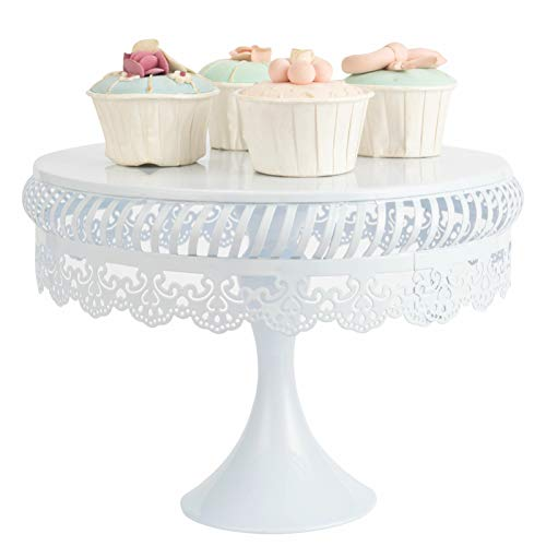 LONGBLE Bandeja redonda para tartas con pie para tartas, cupcakes, frutas, soporte para tartas de metal, estilo vintage, color blanco, diámetro de 25 cm