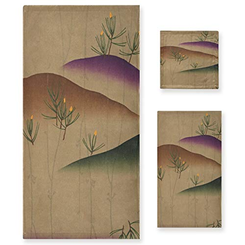 Arte Desierto Cactus Verde Juego de Toallas para Baño Playa 100% Algodón de Piscina Toalla (1 Toalla de Baño y 1 Toalla de Mano y 1 Paño de Lavado) para Nadar Hotel Niñas Niños Niños