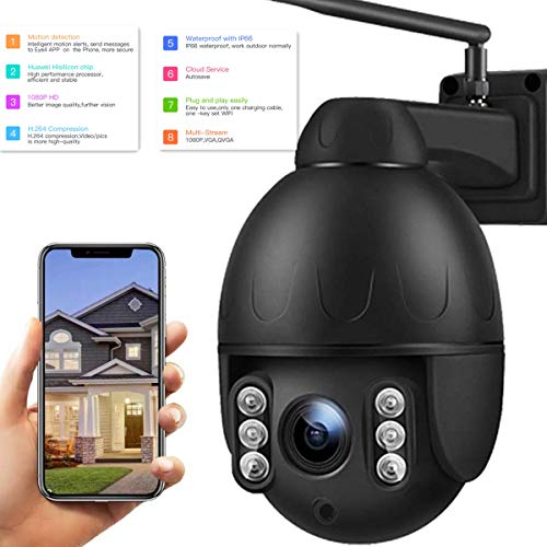 Vstarcam PTZ Kamera IP Dome Outdoor WiFi-Überwachungskamera 1080P, 4 × Auto-Zoom Kamera, 45m Nachtsicht, IP66 Wasserdicht mit vorinstallierter 32G Micro SD-Karte, Schwarz (C31S-X4)
