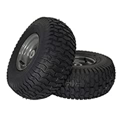 """Tire: 2 pack 15x6. 00-6 tube-type turf SAVER tread - pneumatic 4 Ply rating Wheels: Solid dark gray steel, 3"""" Centered hub, 3/4"""" Sintered iron bushings Load capacity/speed: 400 lbs. / not for highway speeds Use: replacement for Craftsman riding mower..."""