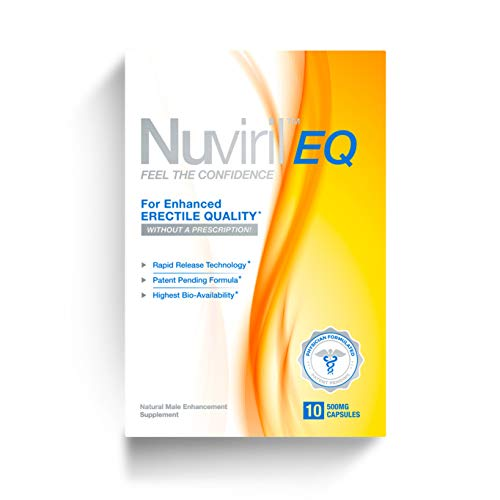 Nuviril EQ Natural Male Enhancement Supplement Fast Acting Male Amplifier for Strength, Performance, Energy, and Endurance, 500 mg, 10 Capsules