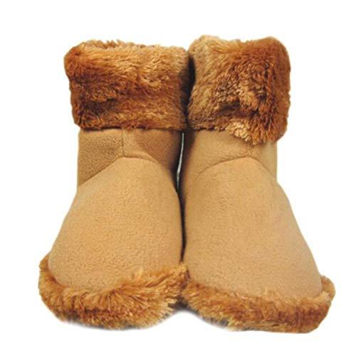 Knowled USB Elektrisch beheizte Winterschuhe warme Schuhe Füße für Fußwärmer und Bequeme Plüsch-Hausschuhe, braun, 52