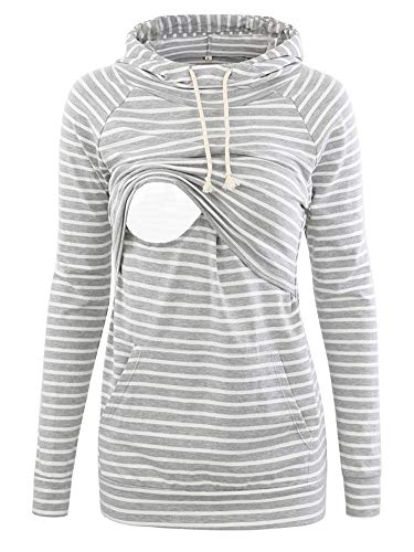 CareGabi Women's Maternity Nursing Hoodie Sweatshirts Long Sleeves Casual Tops Breastfeeding Clothes with Pocket