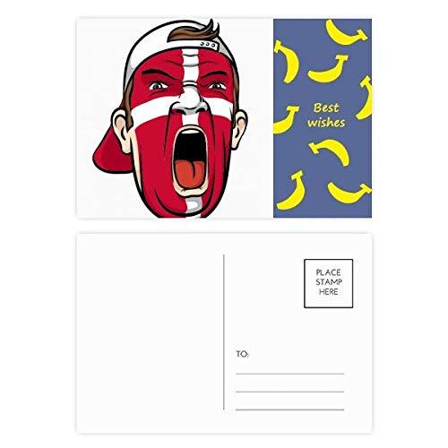 Danmark Flag Gesichtsmaske/Gesichtsmaske/Bananen-Postkarten-Set, 20 Stück