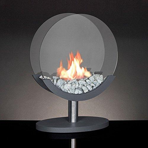 Unbekannt Alfra Feuer Kamin Ethanolofen Ethanolkamin Bioethanolofen Bioethanolkamine Glas 360° drehbar rund anthrazit