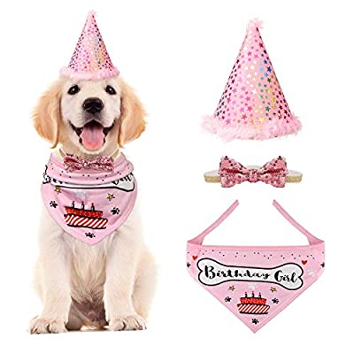 VIPITH Dog Birthday Bandana, Triangle Cotton Dog Scarf with Cute Doggie Birthday Party Hat, Great Puppy Dog Birthday Outfit, Gift and Party Decoration Set (Pink)