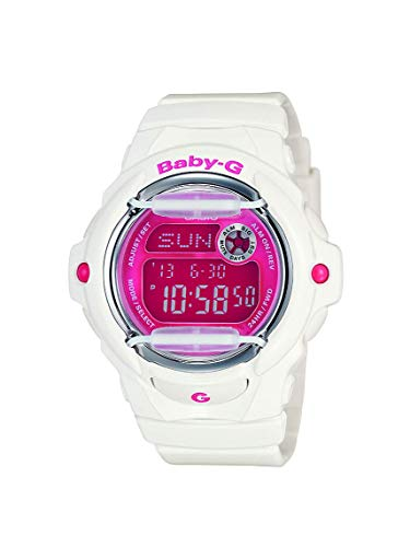Casio Women's Baby G Quartz 200M WR Shock Resistant Resin Color: White with Pink Face (Model BG-169R-7)