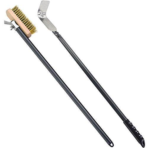 SHANGPEIXUAN Pizza Brush Commercial Grill Brush Stainless Steel Ash Scraper Pizza Oven Rake with Long Handle (47 inchs)