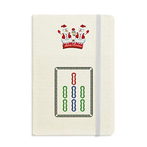Mahjong Notizbuch mit 7 Fliesen und Schneemann, Bambus, dick, Hardcover