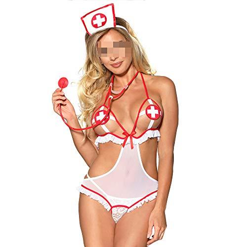 YSYW Frauen Sexy Krankenschwester Dessous Schlafzimmer Frech Krankenschwester Kostüm Cosplay Uniform Unterwäsche Korsett Dessous,OneColor-XXXL